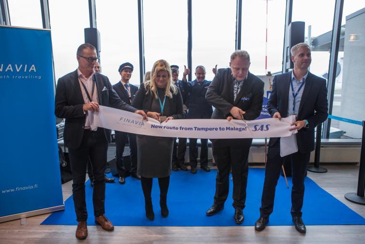 SAS:n uuden Tampere-Malaga reitin avausta juhlittiin lauantaina 13. lokakuuta