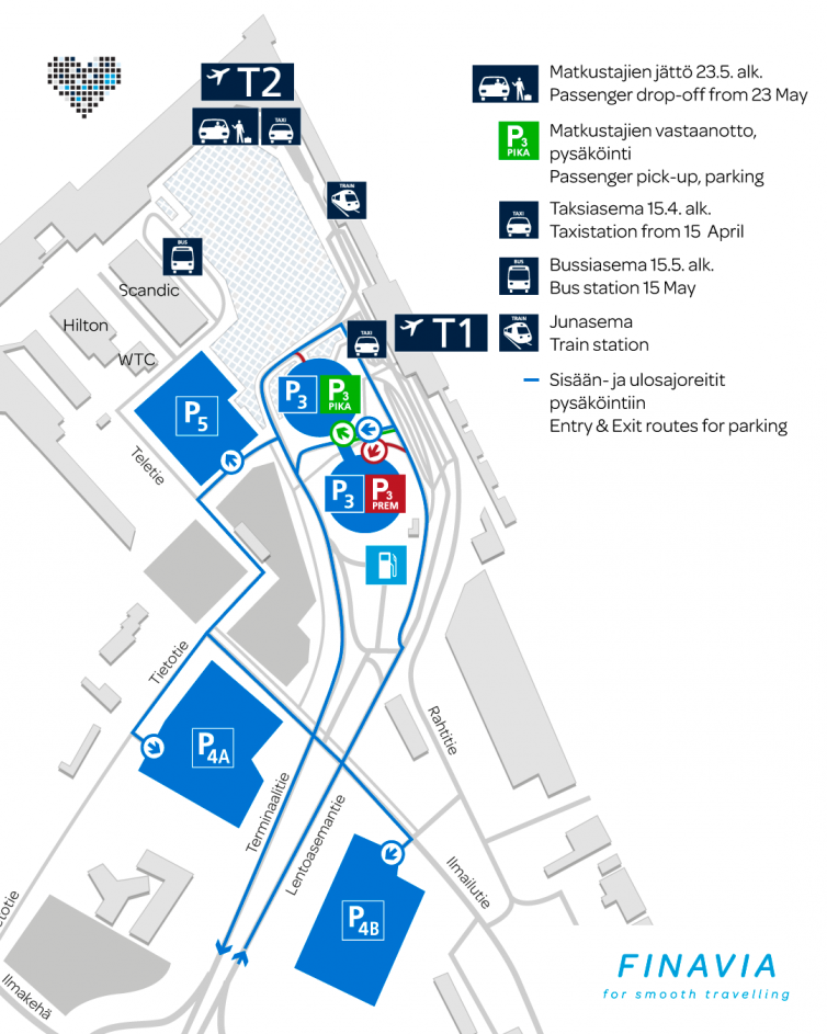 Map of Helsinki airport's outdoor areas.
