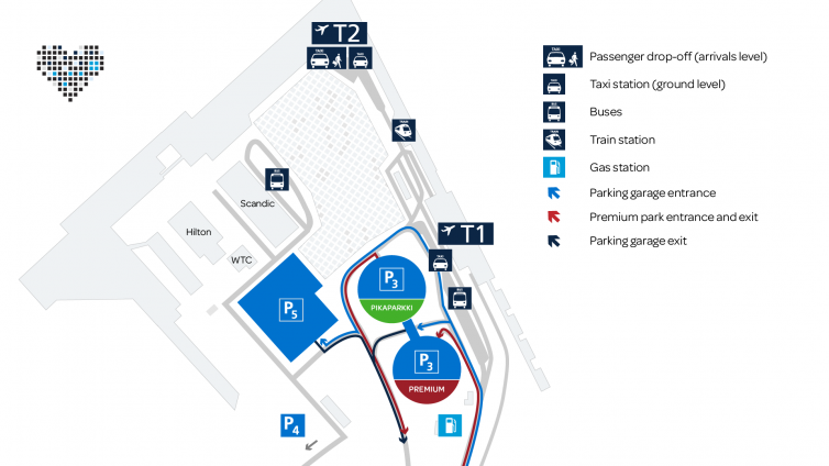 Map of Driving routes at Helsinki Airport.