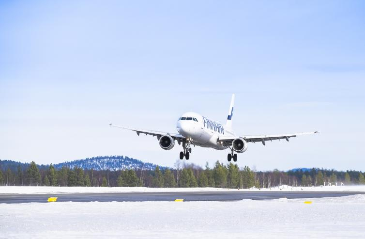 Finnair airplane taking off.