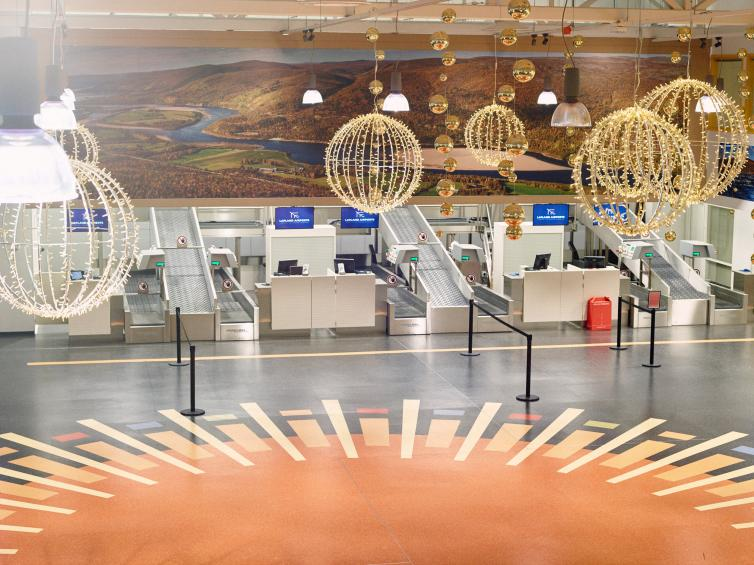 Check-in counters at Ivalo Airport.