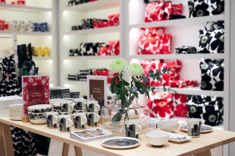 Flower printed products at Marimekko store.