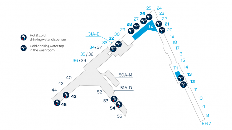 Map of drinking water taps and dispensers at the Helsinki Airport