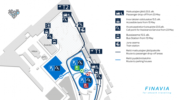 Helsinki Airport parking areas map.