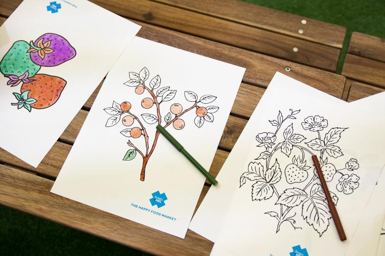 Colouring pages for kids at the Happy Food Market