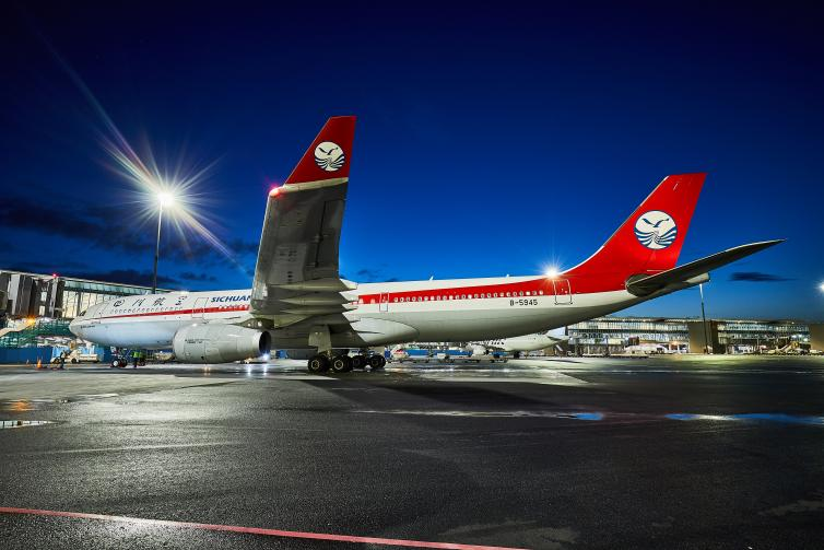 Sichuan Airlines airplane at Helsinki Airport.