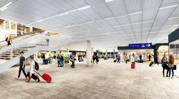 Havainnekuva uudesta saapuvien matkustajien aulasta Helsinki-Vantaalla