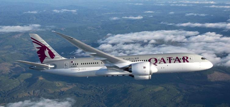 Qatar airways airplane on a flight.