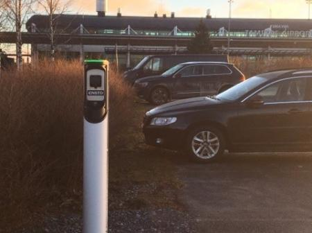 Electric car charging station at Tampere-Pirkkala