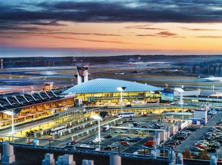 Helsinki Airport outside in the evening