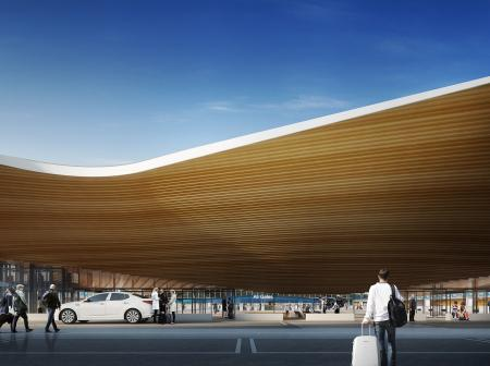 Architectural visualization of  Helsinki Airports terminal 2 extension.