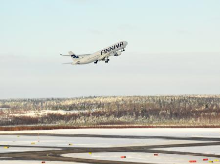 Finnair's airplane at Helsinki Airport