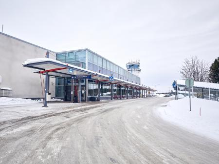 Kuopio Airport main entrance at winter.