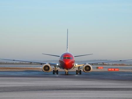 Norwegian's airplane on the runway