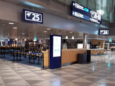 A closed restaurant at the airport terminal