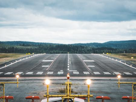 Picture of a runways with lit runways lights
