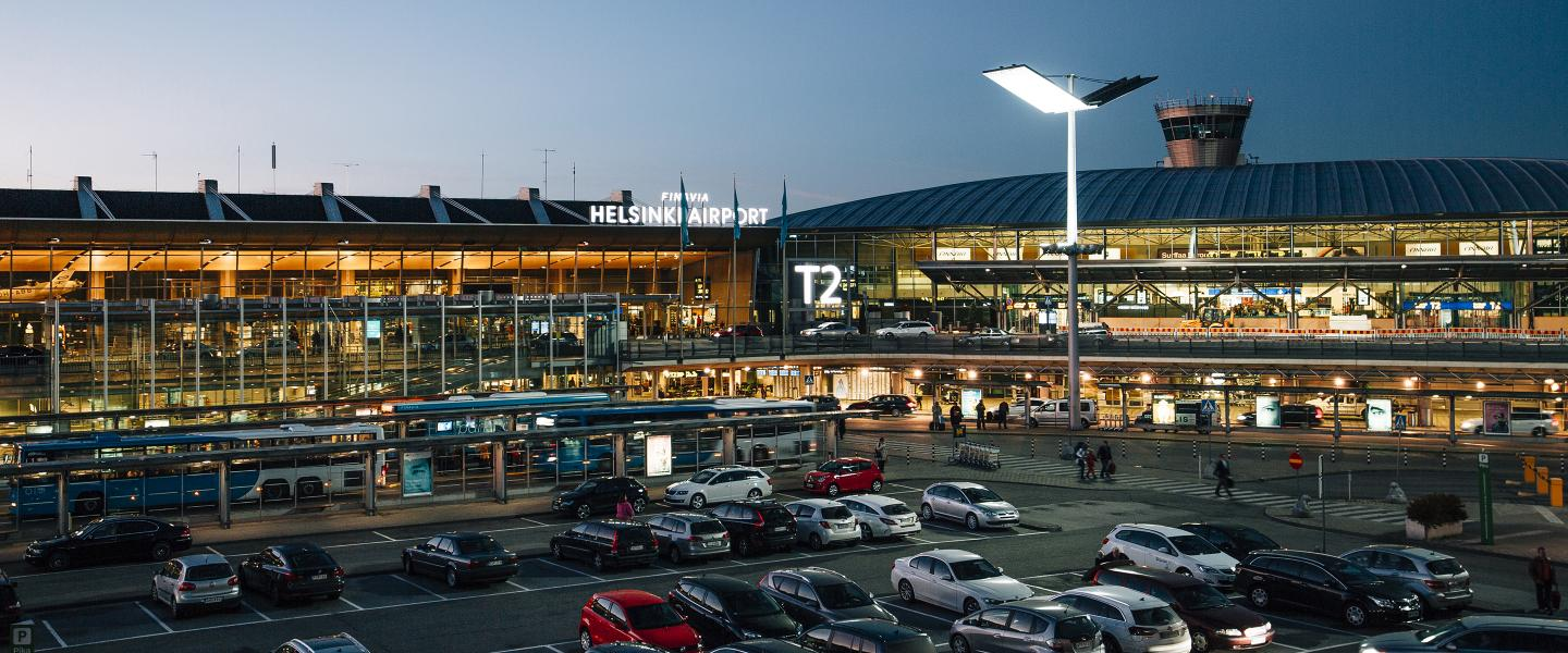 Terminal 2 in the Evening at Helsinki Airport.