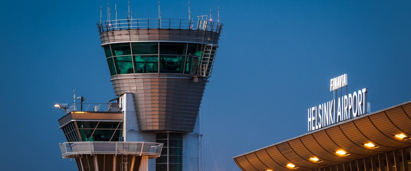 Traffic control tower and T2 of Helsinki Airport