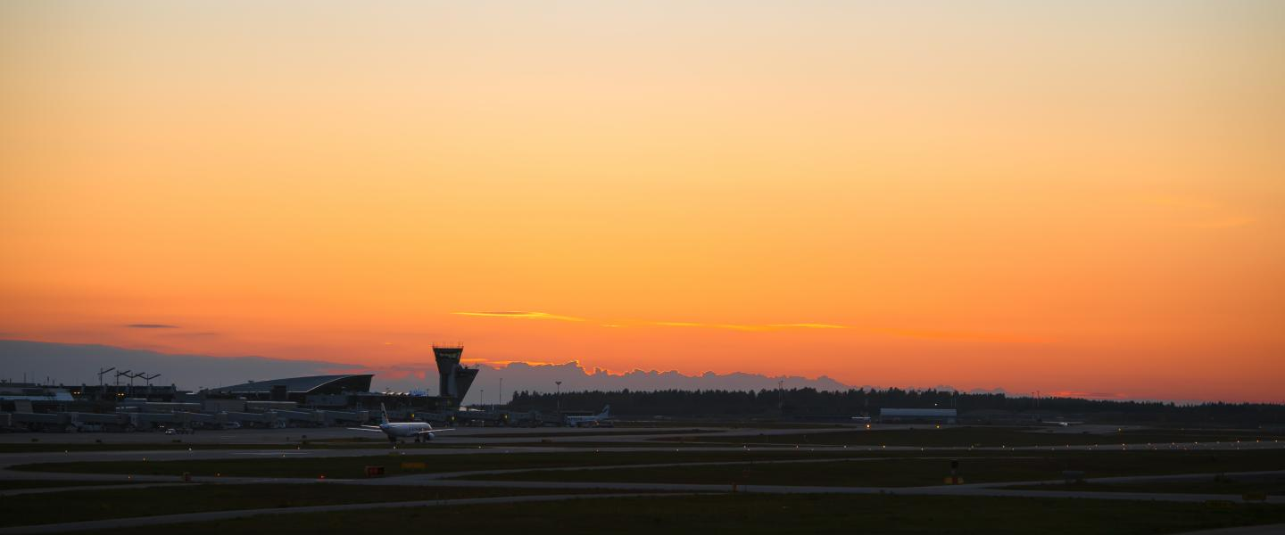 Sunset at Helsinki Airport