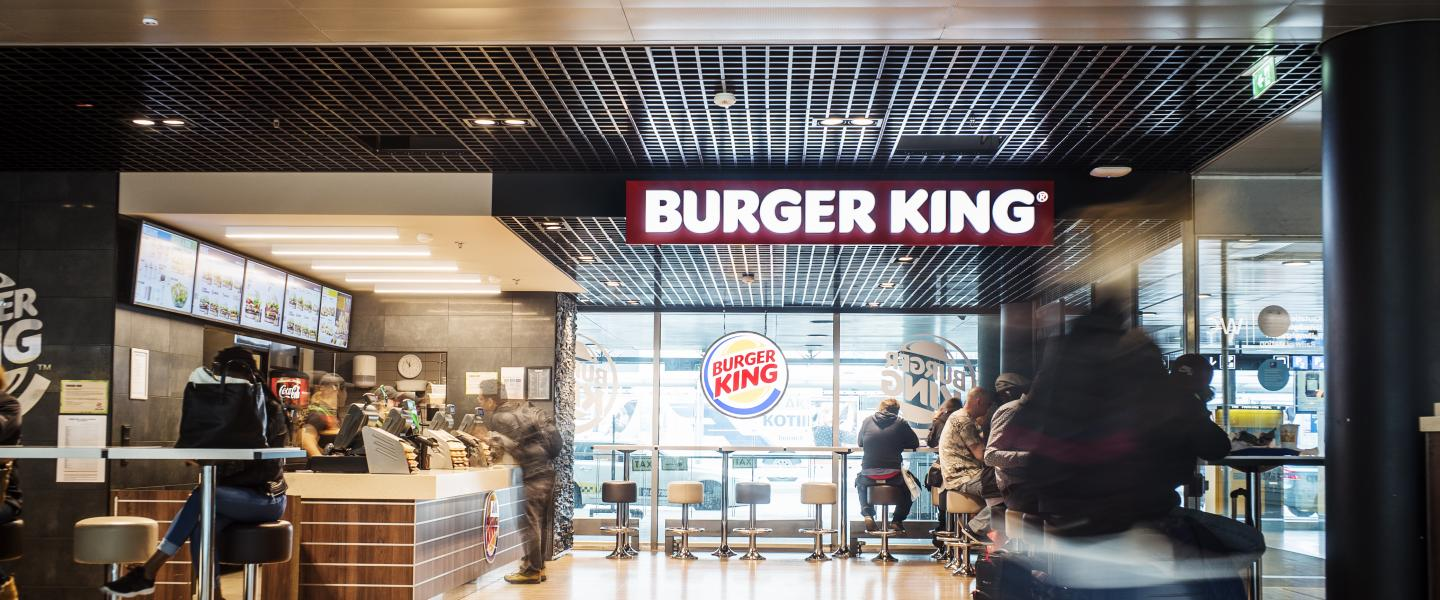 The front of Burger King restaurant at Helsinki Airport