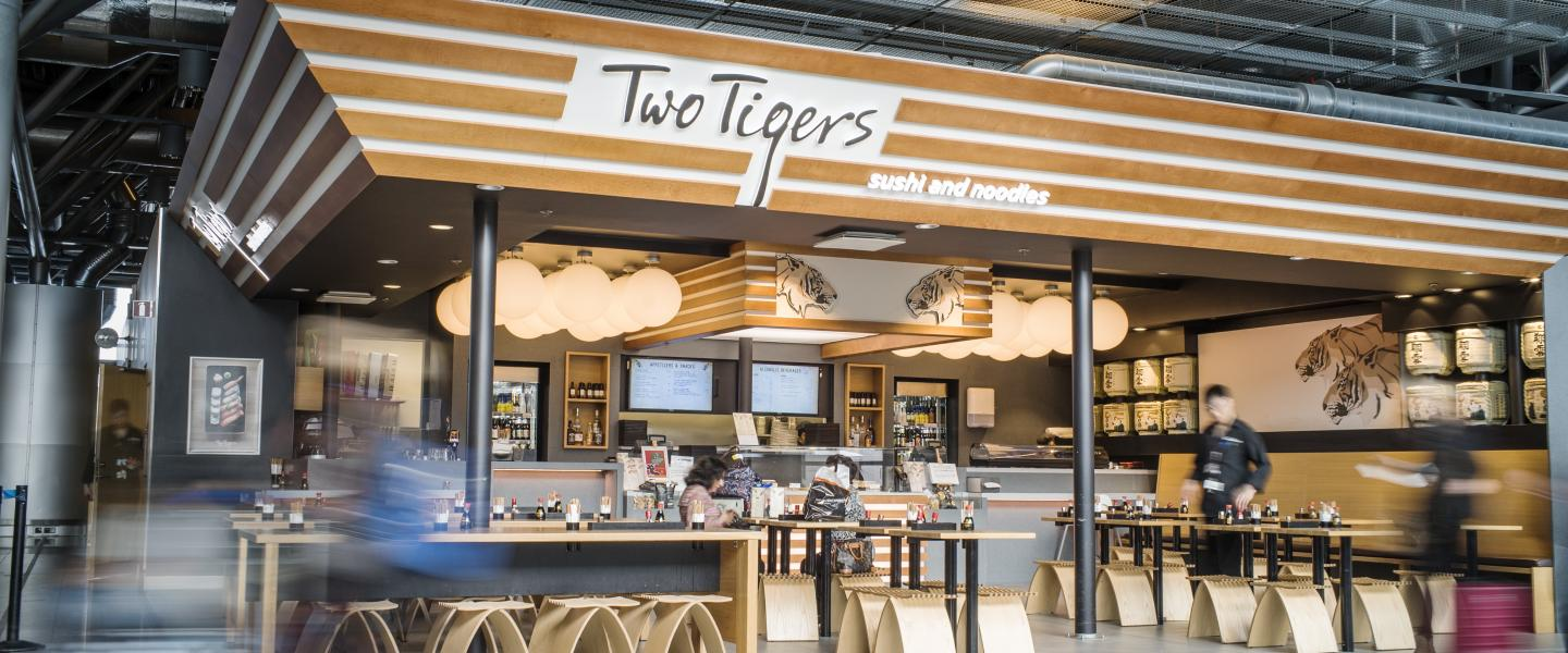 Restaurant Two Tigers Sushi and Noodles at Helsinki Airport.