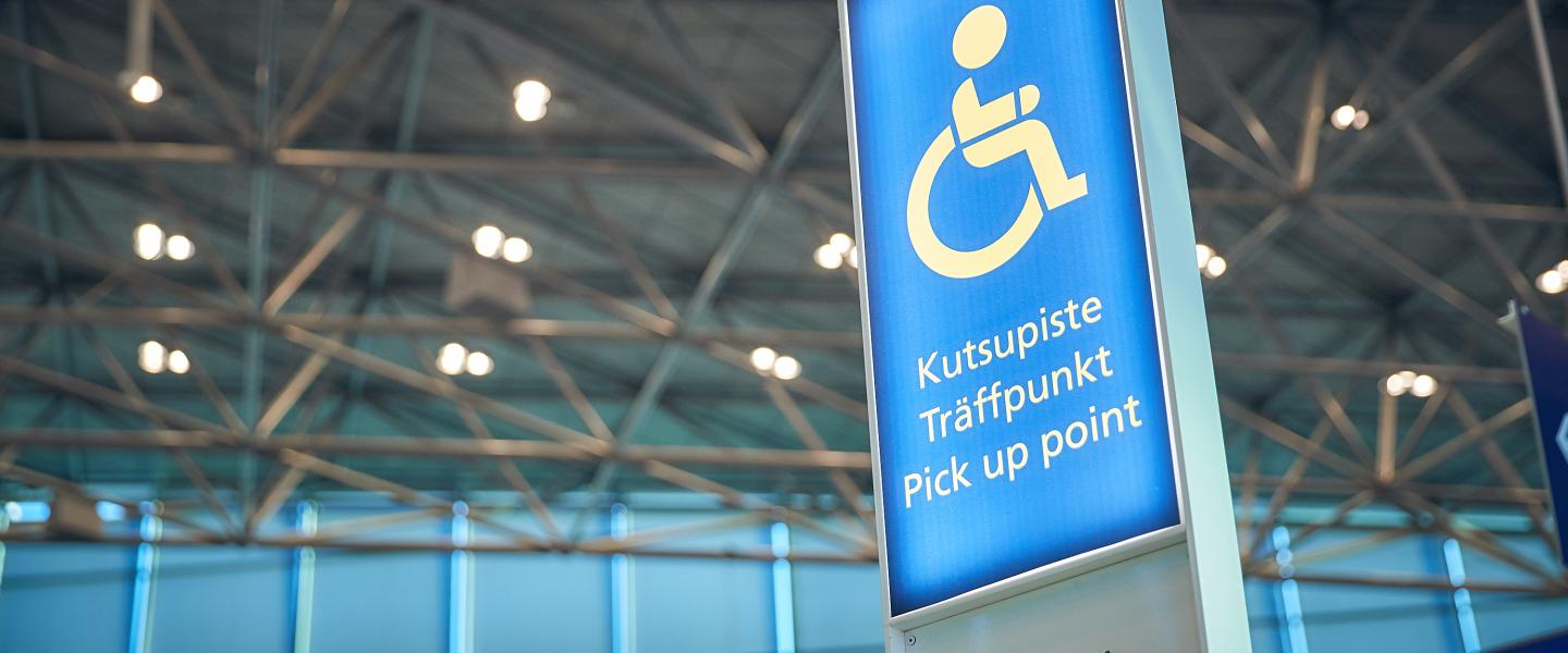 Assistance call point at Helsinki Airport