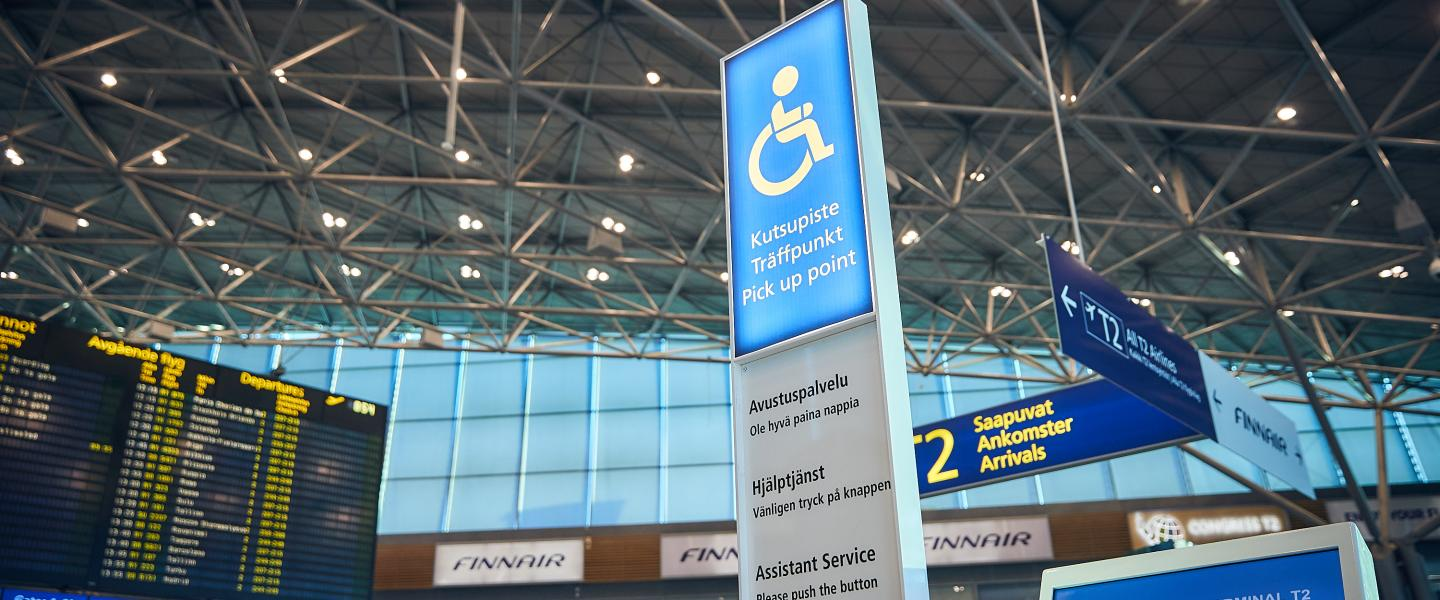 Asssistance call point at Helsinki Airport