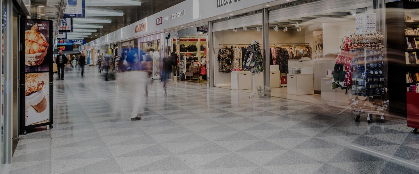 A picture from Helsinki Airport's shopping hall