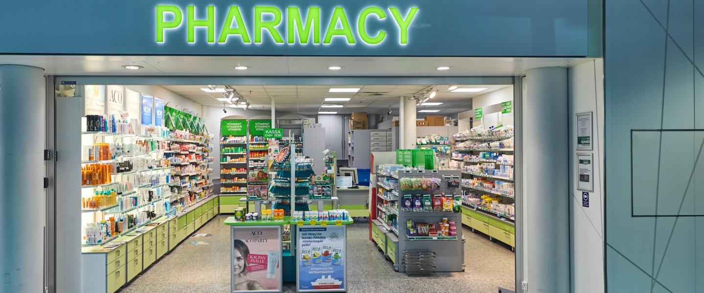 Front of the pharmacy at the airport