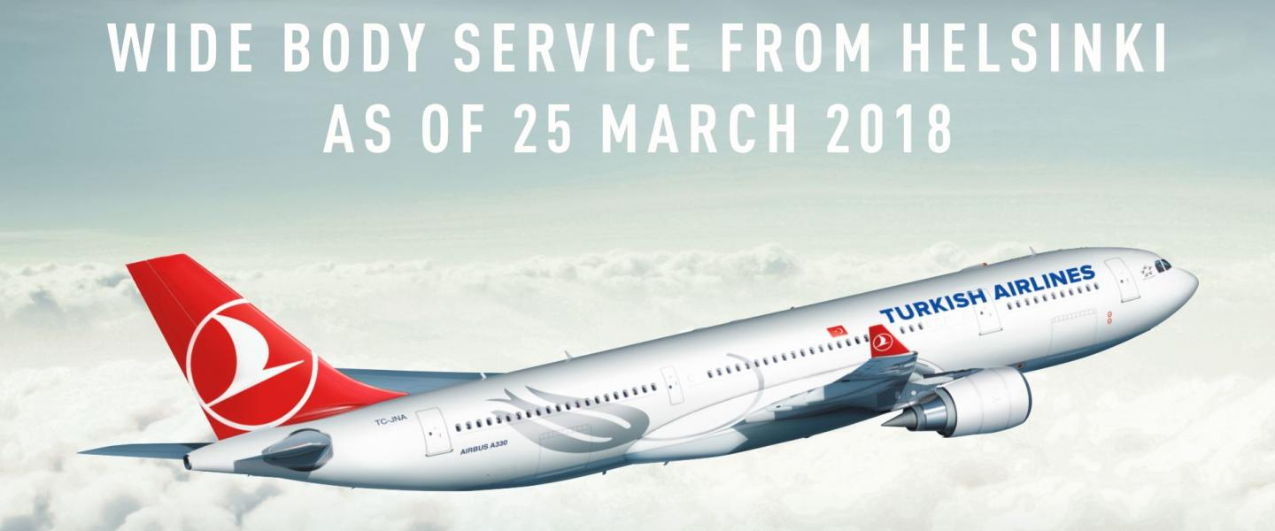Turkish Airlines wide body service from Helsinki as of 25 March