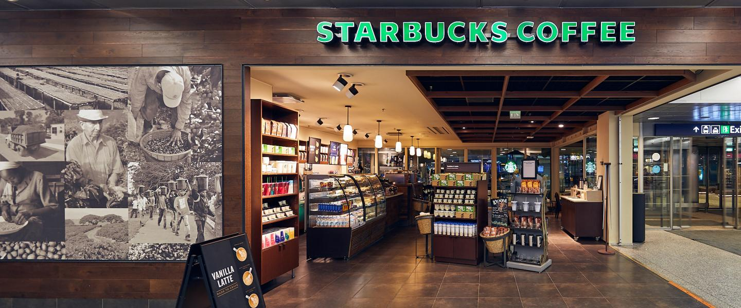 The front of Starbucks coffee
