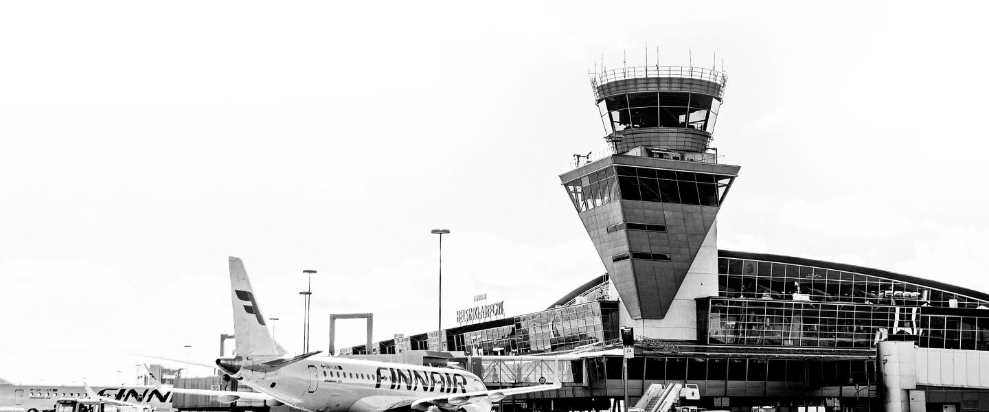 Black and white picture of Helsinki Airport.