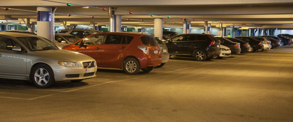 Picture of cars parked in a parking space at Helsinki airport