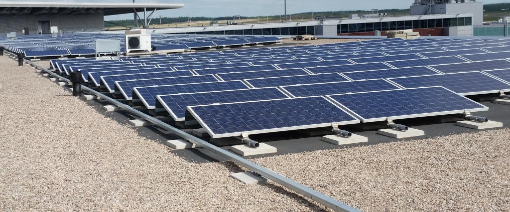 Solar panels on the roof of Helsinki Airport.