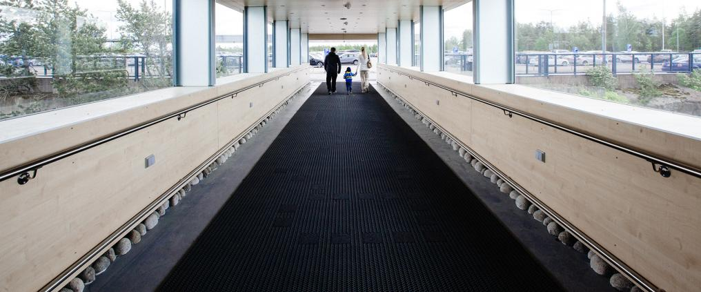 Long corridor at Turku Airport.