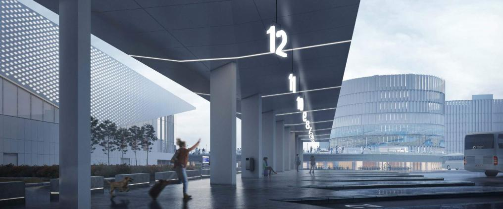 Architectural visualization of  Helsinki Airports terminal extension. Woman hails a bus in hurry..