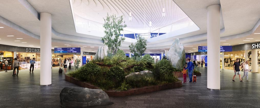 Illustration of the arrivals hall at the new terminal 2