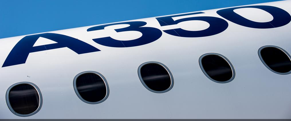The side of Airbus A350 -airplane.