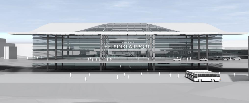 An illustrative image of new Helsinki Airport terminal