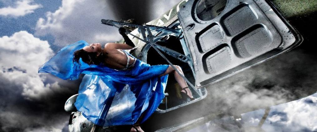 An artwork of a woman in blue dress climbing onto an airplane.