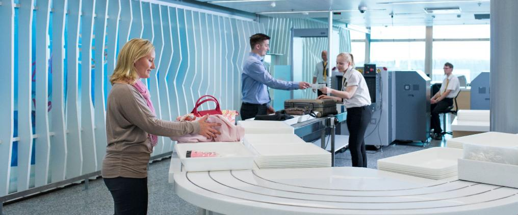 A new security check point at Helsinki Airport.