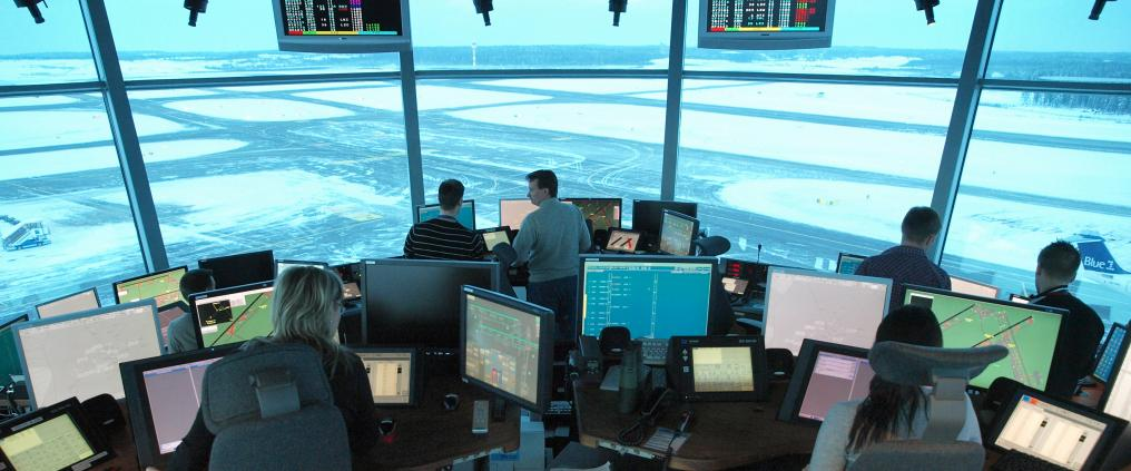 Inside air traffic control tower.