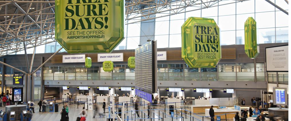 Treasure Days! -campaign decorations at Helsinki airport departure hall.