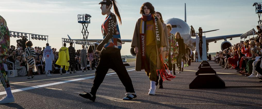 Fashion show finale at Helsinki airport runway.