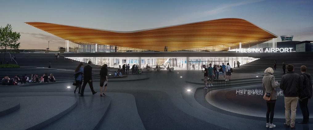 Architectural visualization of Helsinki airport's exterior.