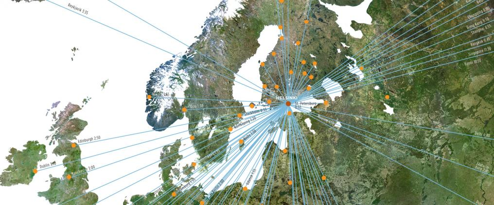 Map of Helsinki airport's flight routes to the world.