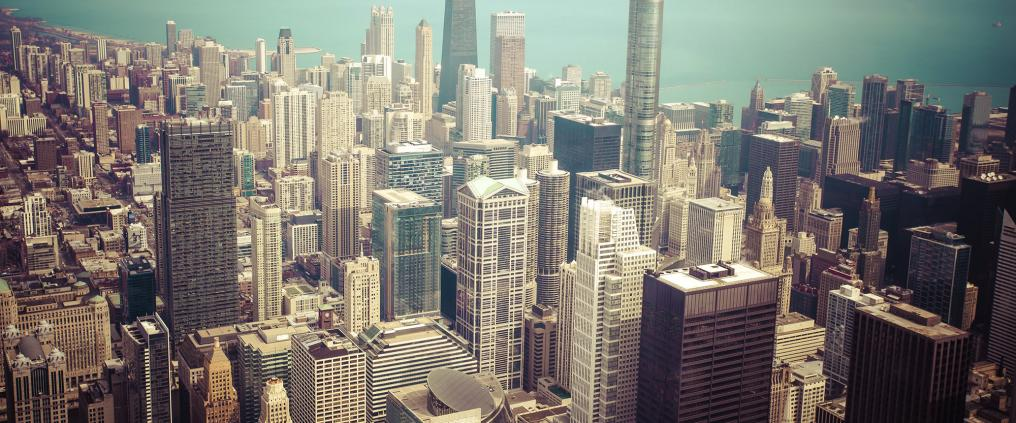 A aerial image of Chicago.