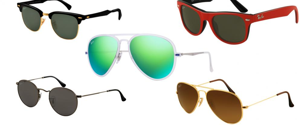 Different modelst of Rayban sunglasses.