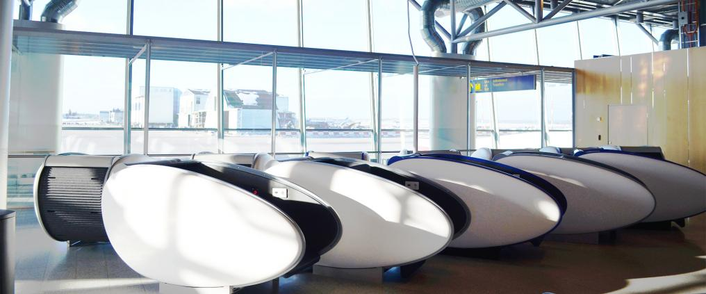 Sleeping capsules in a row.