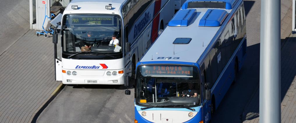Busses at Helsinki Airport.